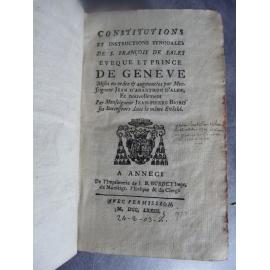 Impression d'Annecy Savoie Constitutions et instructions synodales de S. François de Sales, évêque et prince de Genève.