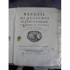 Diderot Panckoucke Encyclopédie planches tome II 298 planches horlogerie complète filets peche glaces etc