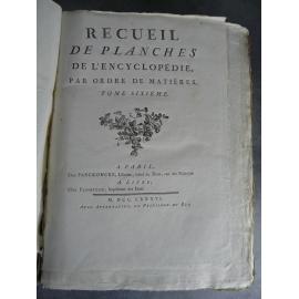 Diderot Panckoucke Encyclopédie planches tome VI 290 planches Bonneterie broderie filature étoffe soie