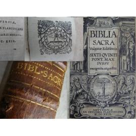 Précieuse Bible Biblia sacra du célèbre imprimeur Plantin à Anvers en 1629 complet