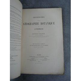 Lyon Magnin Recherches de géographie botanique de Lyonnais Paris Bailliere1879 envoi à Monoyer non coupé