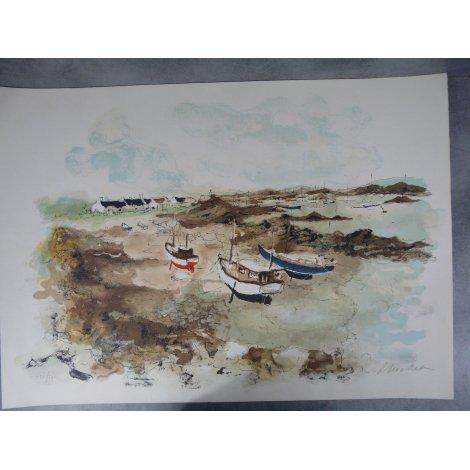 Urbain Huchet Grande Lithographie originale signée par l'Artiste 76 x 54 cm Bretagne Port à Marée Basse.