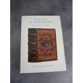 Bibliophilie bibliographie catalogue Sourget Manuscrits livres précieux du XIIIe a nos jours