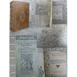 Estienne Bible en Français 1567 Monument typographique 4 tomes en 1 fort vol. Ancien testa. nouvelle alliance psaumes Calendrier