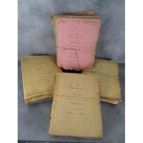 La criminalité en Provence 1863-1907 important et unique dossier coupures de presses contrecollées...