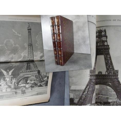 Exposition Paris 1889 Construction tour Eiffel , gravures complet.