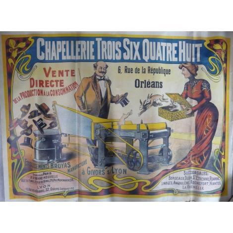 Grande affiche originale couleur vers 1920 Chapellerie Bruyas à Givors Très fraîche