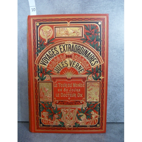 Hetzel Jules Verne le tour du monde en 80 jours le docteur ox cartonnage à un éléphant dos au phare Voyages extraordinaires