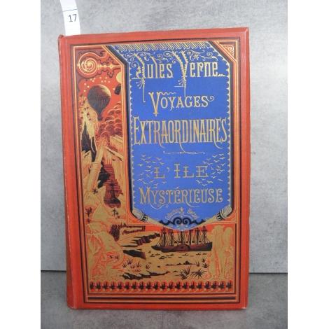 Hetzel Jules Verne l'ile mysterieuse cartonnage bannière bleue Voyages extraordinaires
