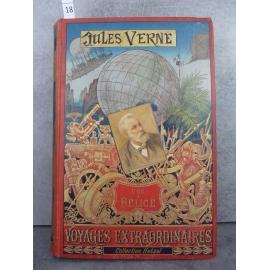 Hetzel Jules Verne l'ile à Hélice cartonnage portrait collé, dos au phare. Voyages extraordinaires