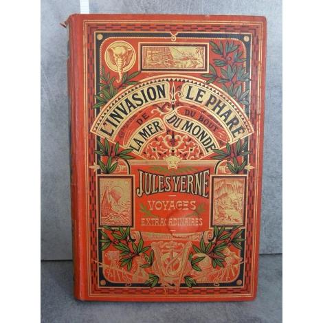 Hetzel Jules Verne l'invasion de la mer le phare du bout du monde cartonnage aux deux éléphants Voyages extraordinaire
