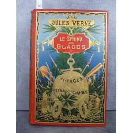 Hetzel Jules Verne le sphinx des glaces Globe doré dos au Phare. Voyages extraordinaires très bel exemplaire.
