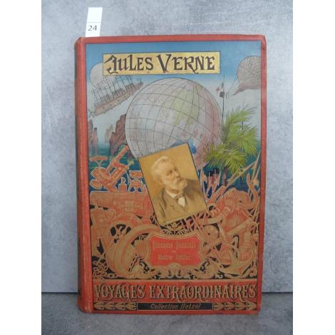 Hetzel Jules Verne Mirifiques aventures de Maitre Antifer Cartonnage portrait collé dos au phare Voyages extraordinaires