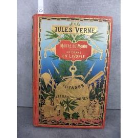 Hetzel Jules Verne Maître du monde Drame en Livonie, Globe doré dos au phare voyages extraordinaires